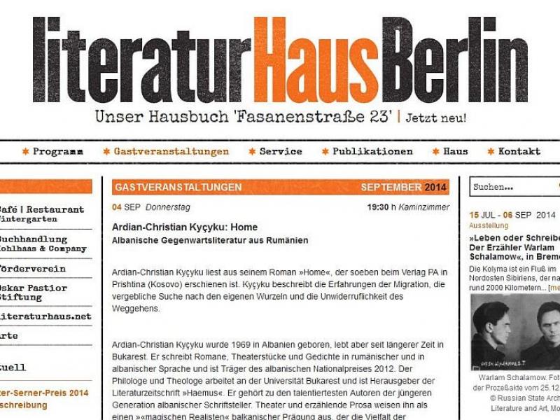 "Ardian-Christian Kyçyku me ""Home"", Literaturhaus Berlin, 4.9.2014"
